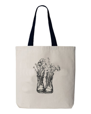 Hiking Boot Flowers Tote
