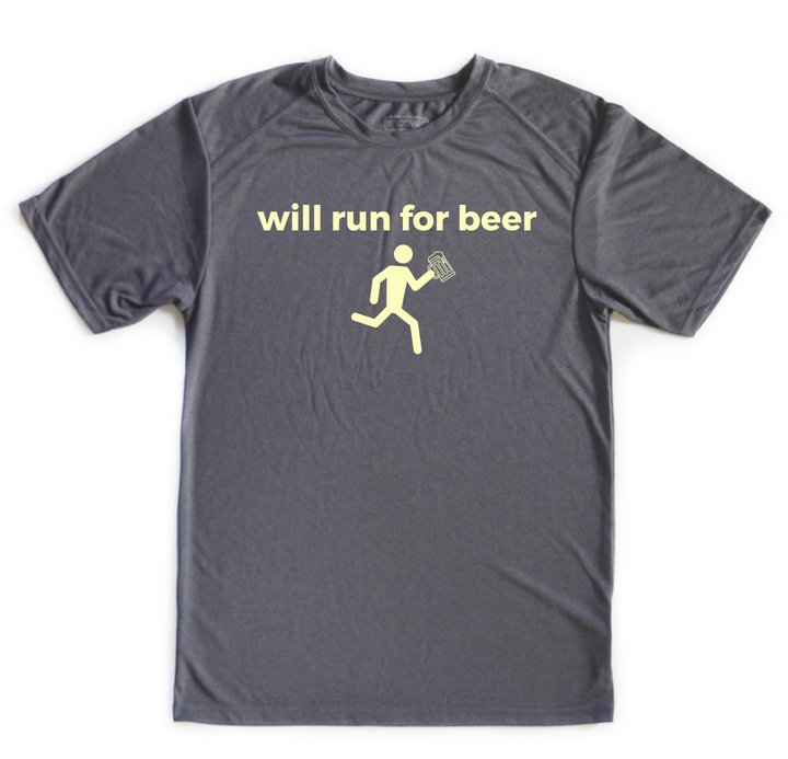 Will Run For Beer.  Dry Fit (100% Recycled Water Bottle Polyester)