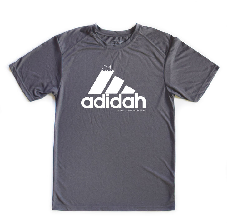 ADIDAH (All Day I Dream About Hiking) ADIDAS Parody Unisex Tee (Organic/rPET Triblend & Dry Fit)