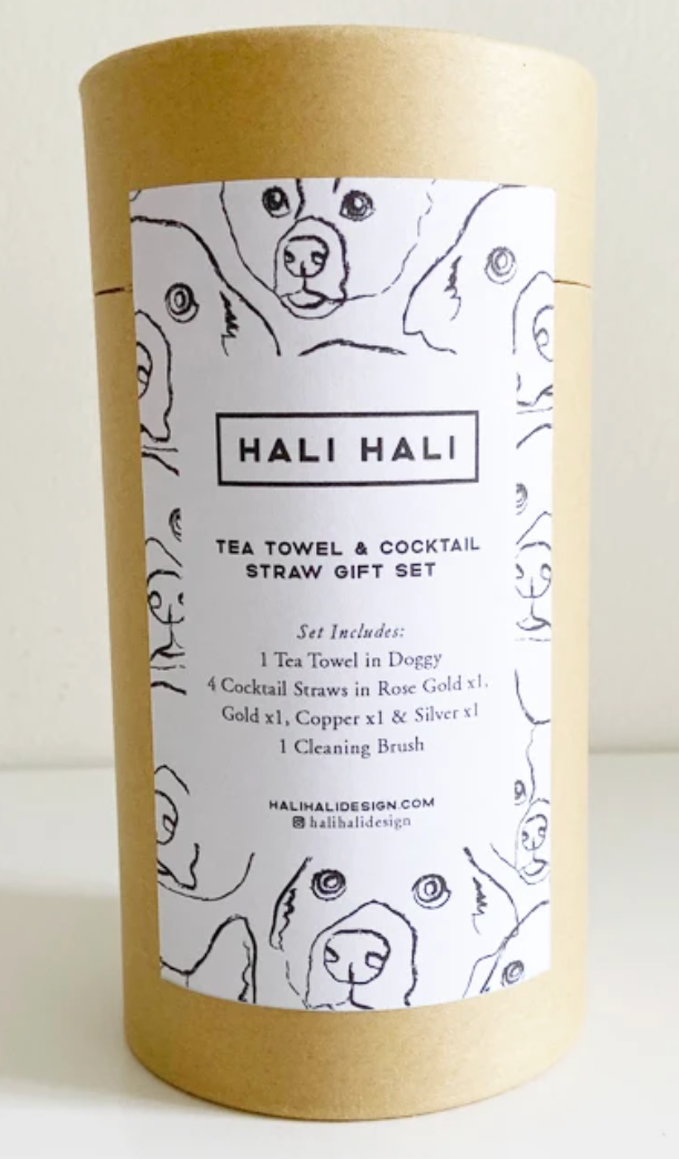 Tea Towel & Cocktail Straw Gift Set - Hali Hali