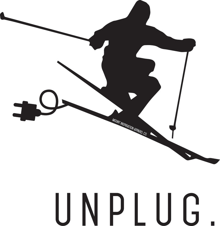 Unplug Skier. Sticker