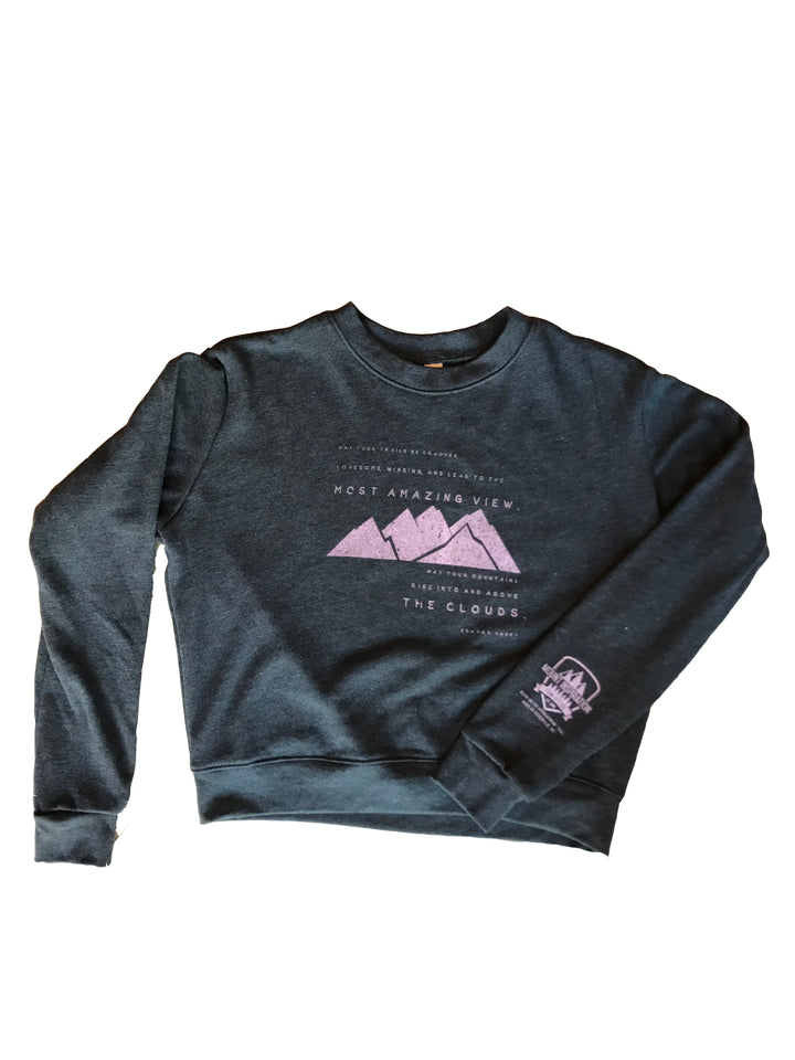 May Your Trails Be Crooked - Edward Abbey Crop Top Crew Organic Cotton/Recycled Water Bottle Polyester Sweatshirt