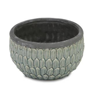 "6.5"" Round, blue ceramic pot with an overlapping leaf pattern"