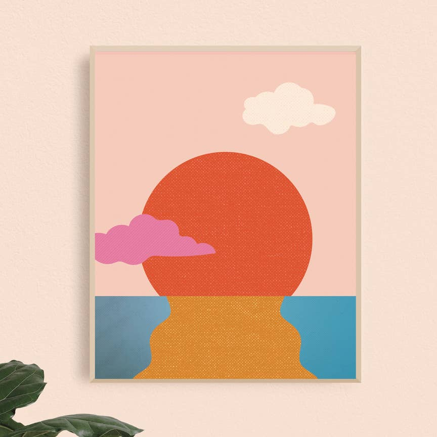 Water Sunset Art Print