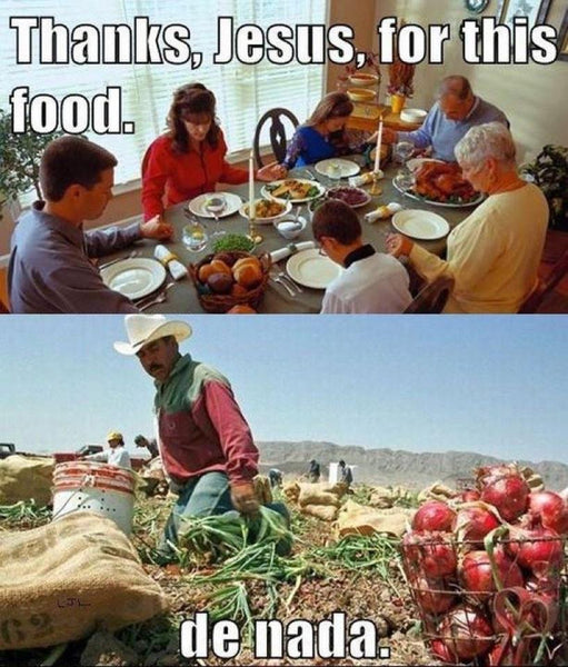 Thanksgiving Meme, thank you jesus for our food gathering, farmworker says, de nada.