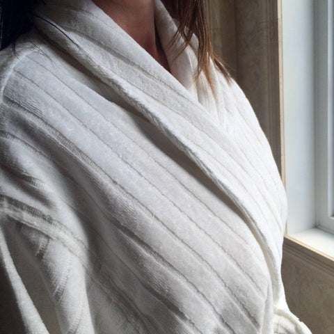 Velour Striped Bathrobe, 100% Aegean Cotton