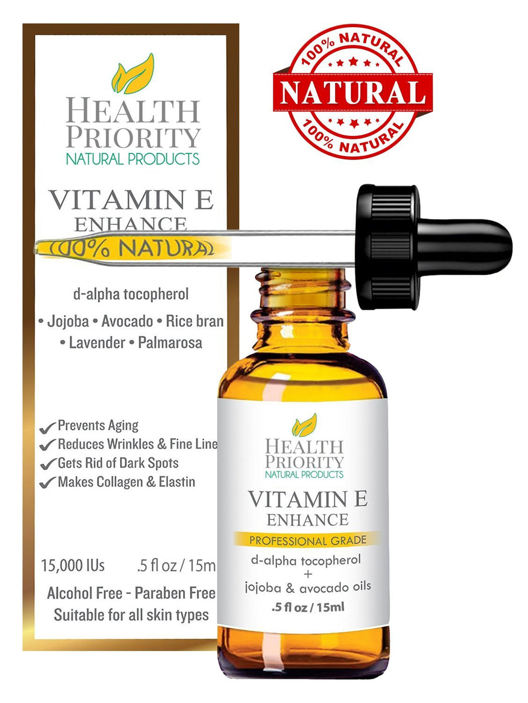 100% Natural & Organic Vitamin E Oil - ZP