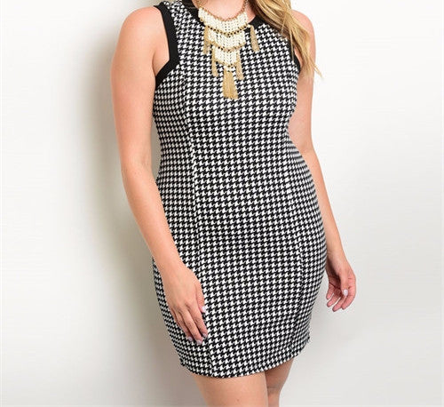 Houndtooth Razor Back Structure Dress