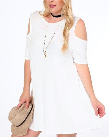 Ivory Cold Shoulder Dress