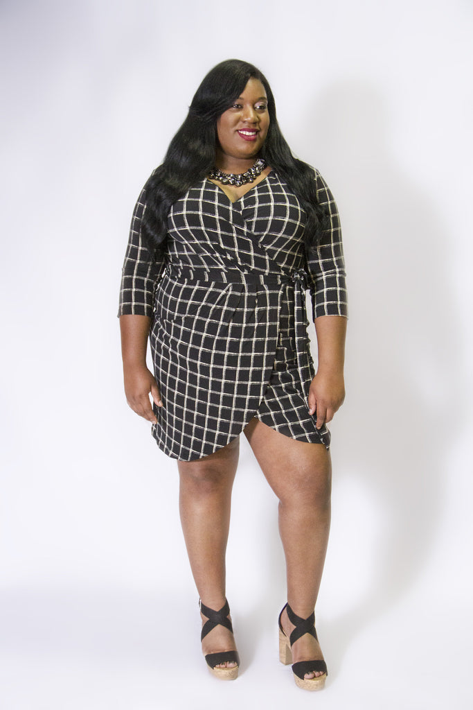 Black&Ivory Plaid Wrap Dress
