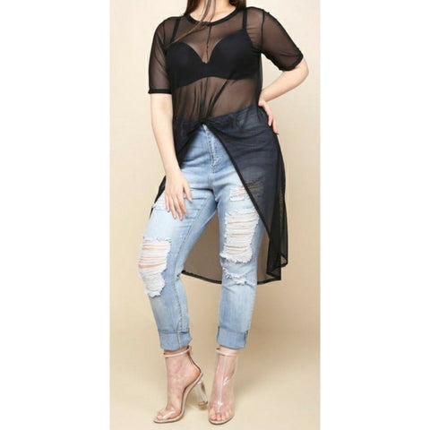 Hi-lo  Plus Size Sheer Top