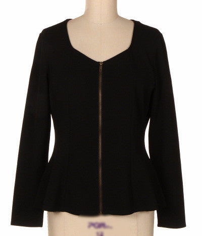 Long Sleeve Peplum  Black Shirt
