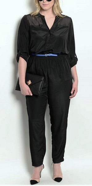 Sheer Sleeve Jumpsuit with Blue Belt
