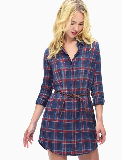 Indigo Plaid Shirtdress