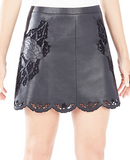 Jenhifer Embroidered Faux-Leather Skirt