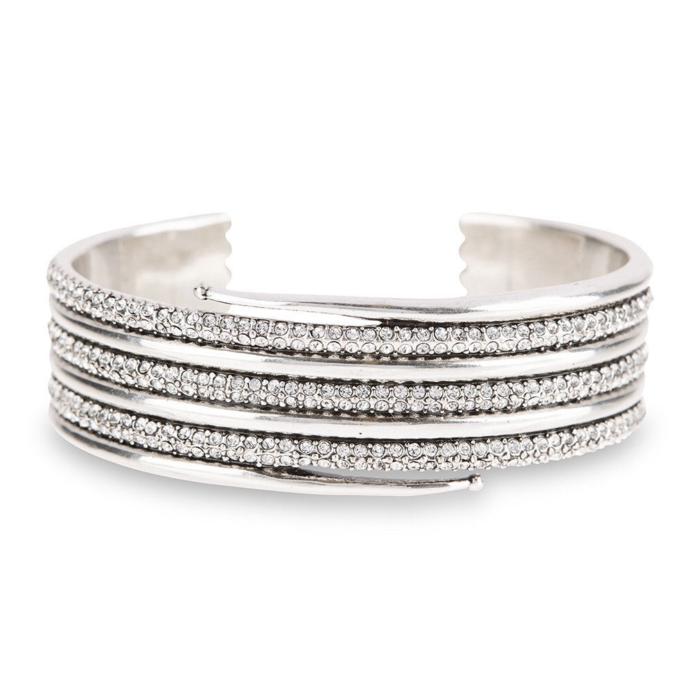 LUV AJ Pave Coil Cuff - silver ox plated