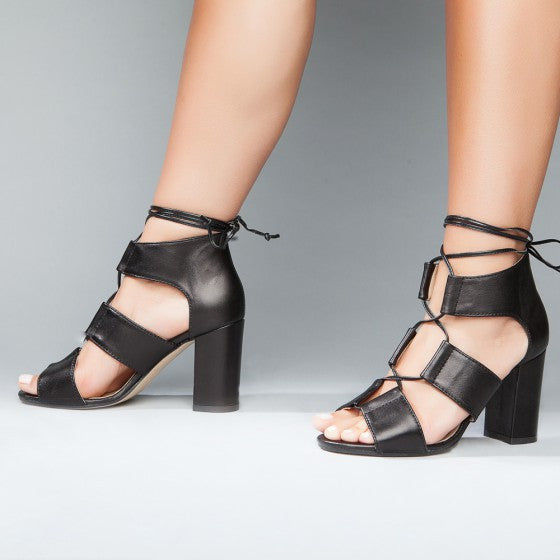 Myndee Black Italian Leather Heel