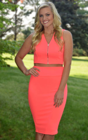 Neon Coral Two Piece