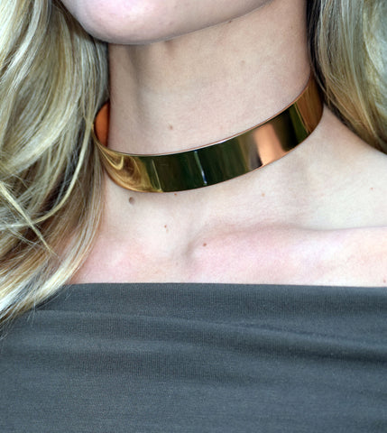 Gold Metal Choker Necklace