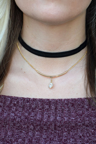 Leather & Chain Choker Necklace