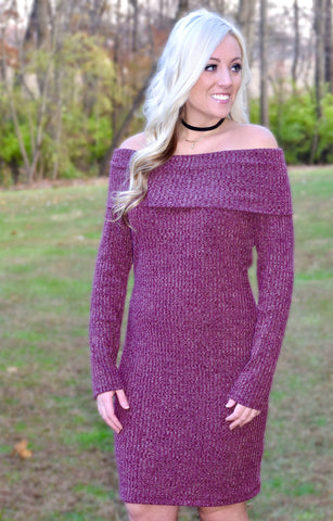 Off-The-Shoulder Sweater Dress