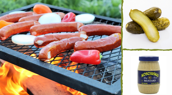 Grill style sausage with pickles and koscziuzko