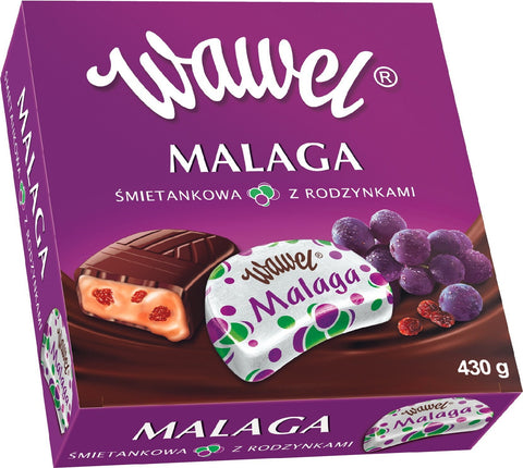 Wawel - Malaga  Cream with Raisins Chocolates - Polana