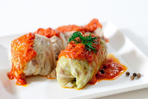Rice and Mushroom Stuffed Cabbage w/Tomato Sauce - 3 Rolls (Gołąbki) - Polana