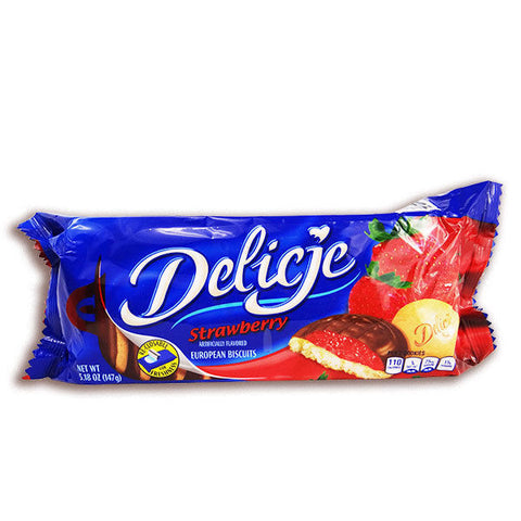 Delicje - Soft Biscuits Topped with Chocolate - Strawberry