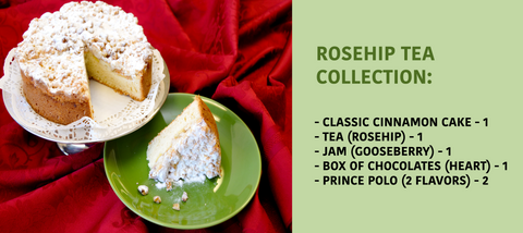 ROSEHIP COLLECTION: cinnamon cake, tea (rosehip), jam (gooseberry), box of chocolate (heart), prince polo (2 flavors)