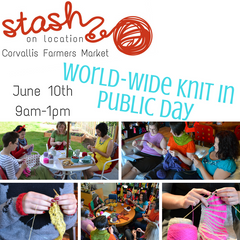 World Wide Knit in Public Day at the Corvallis Saturday Market