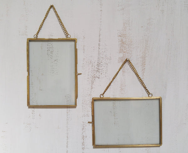 Hanging Gold Rimmed Frame With Chain Trinity Vintage Home