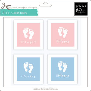 3 x 3 Cards Baby Little One Digital Download Print/Cut SVG & Pdf
