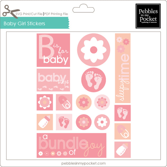 Baby Girl Stickers Digital Download Print/Cut SVG & Pdf