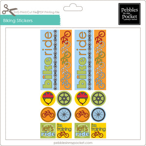 Biking Stickers Digital Download Print/Cut SVG & Pdf