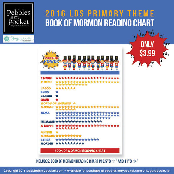 Primary 2016 Book of Mormon Reading Chart Digital Download Pdf