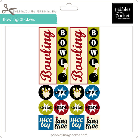 Bowling Stickers Digital Download Print/Cut SVG & Pdf