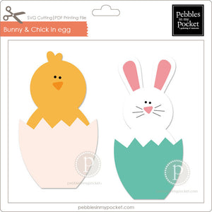 Bunny & Chick in Egg Digital Download SVG & Pdf