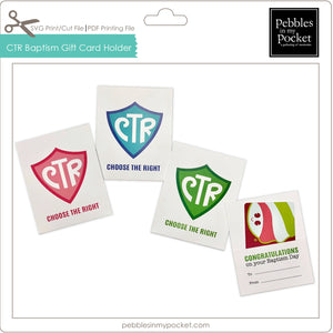 CTR Baptism Gift Card Holder Digital Download SVG & Pdf