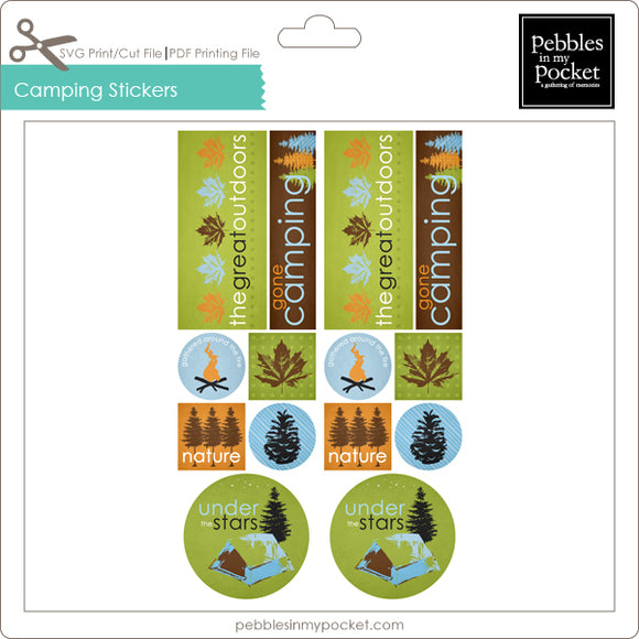 Camping Stickers Digital Download Print/Cut SVG & Pdf