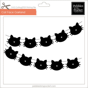 Cat Face Garland Digital Download SVG & Pdf