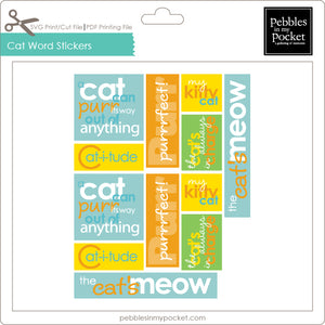 Cat Word Stickers Digital Download Print/Cut SVG & Pdf