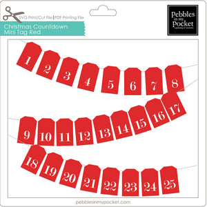 Christmas Countdown Mini Tag Red Digital Download Print/Cut SVG & Pdf