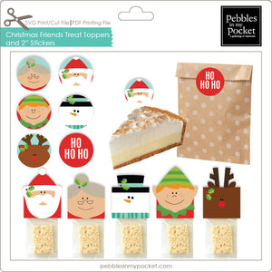 "Christmas Friends Treat Toppers & 2"" Stickers Digital Download Print/Cut SVG & Pdf"