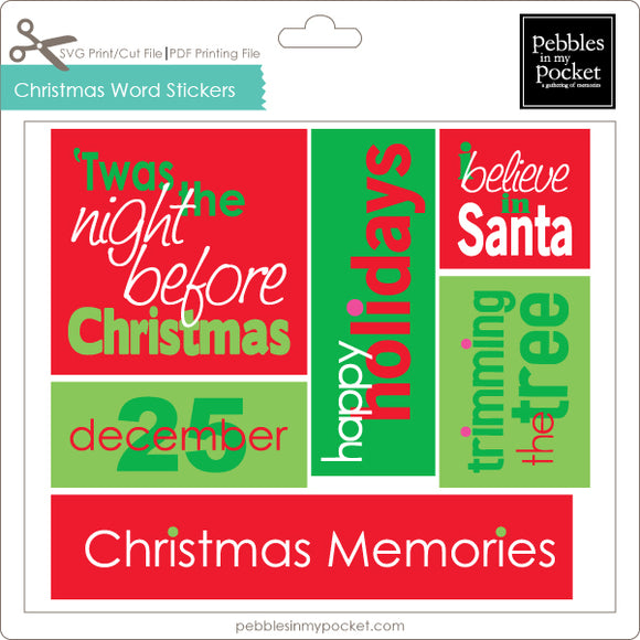Christmas Word Stickers Digital Download Print/Cut SVG & Pdf
