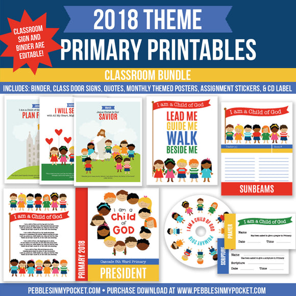 Primary 2018 Classroom Bundle Digital Download Pdf & Jpgs