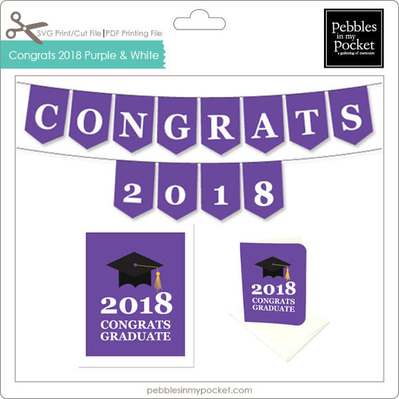 Congrats 2018 Purple and White Digital Download Pdf