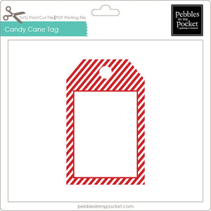 Candy Cane Tag Digital Download Print/Cut SVG & Pdf