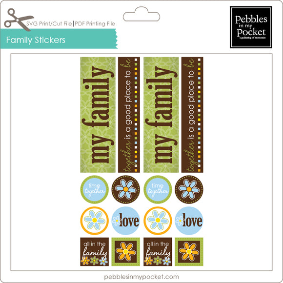 Family Stickers Digital Download Print/Cut SVG & Pdf
