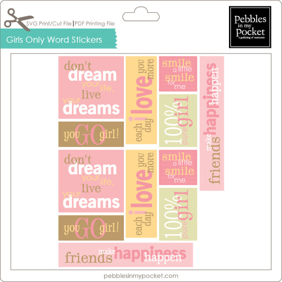 Girls Only Word Stickers Digital Download Print/Cut SVG & Pdf